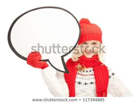 beautiful woman in hat muffler and mittens stock photo © dolgachov