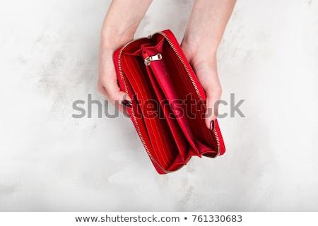 barna · pénztárca · bankjegyek · halom · izolált · fehér - stock fotó © supertrooper