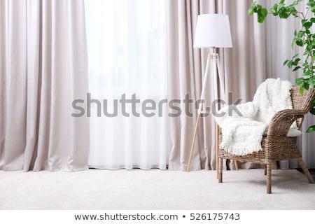 Fenêtre rideau illustration intérieur maison maison Photo stock © re_bekka