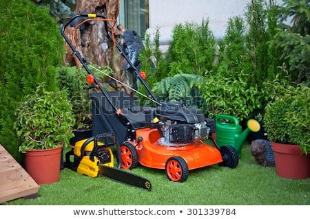 庭園 黒白 シルエット 作業 金属 ストックフォト © mannaggia
