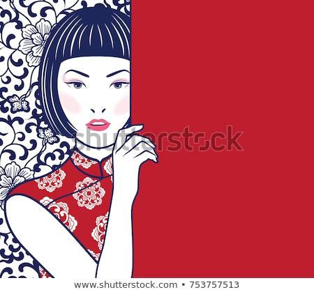 Японский · девушки · классический · платье · лице - Сток-фото © carlodapino