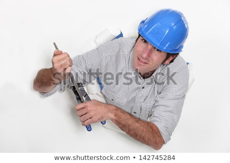 彫刻刀 ペア 建設 壁 白 ストックフォト © photography33