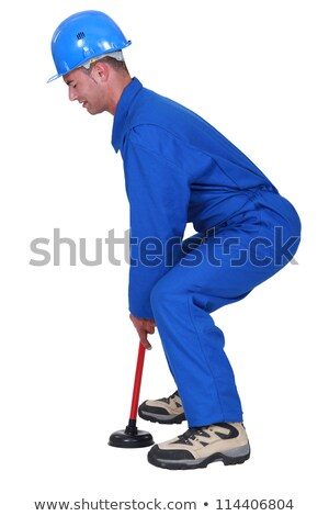 plumber handling plunger in profile Stock photo © photography33