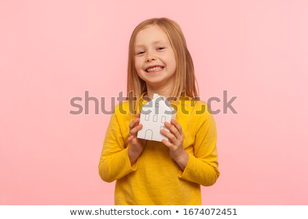 Little girl imóveis agência edifício indústria diversão Foto stock © photography33