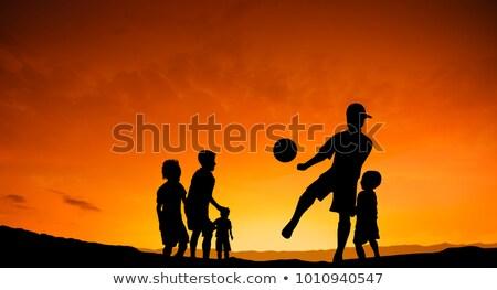 Vijf kinderen silhouet geïsoleerd witte partij Stockfoto © robertosch