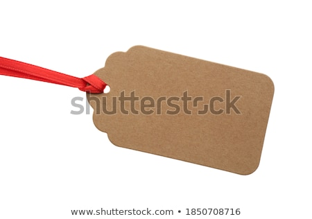 Foto stock: Blank Tag With Red Ribbon