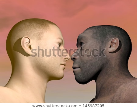 modern human and homo erectus man compared stock photo © aliencat