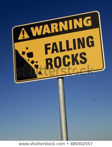 Verkeersbord woorden risico vooruit blauwe hemel wolken Stockfoto © Quka