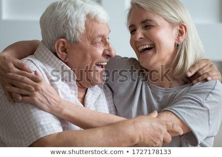 Idős emberek pihen pár ül pad szeretet Stock fotó © iko
