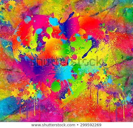 kék · virágmintás · festék · folt · fehér · grunge - stock fotó © mikemcd