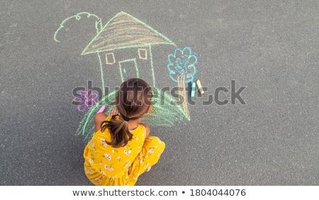Gyerekek rajz aszfalt család ház baba Stock fotó © Paha_L