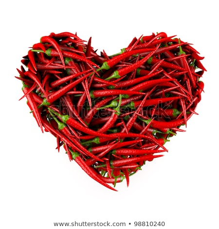 heart shape made of red hot peppers isolated on white background stock photo © snyfer