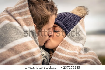 couple natural kiss closeup portrait stock photo © lunamarina