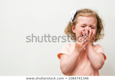 adorable blond little girl crying portrait stock photo © lunamarina