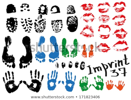 Stock photo: Big red lips track on white background