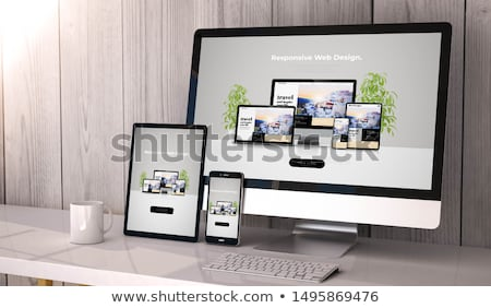 Sympathiek website design moderne meervoudig telefoon Stockfoto © Solid