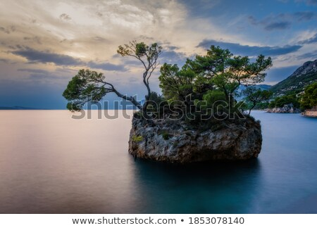 Zonsondergang strand steen zee Kroatië water Stockfoto © fisfra