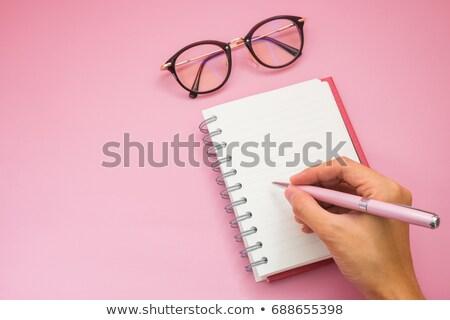 Yalıtılmış pembe gündem kalem ofis kitap Stok fotoğraf © pingphuket