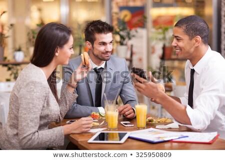 Genç işadamı kahvaltı restoran ofis Stok fotoğraf © jakubzak