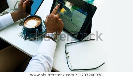 przystojny · szczęśliwy · biznesmen · pracy · laptop · restauracji - zdjęcia stock © jakubzak