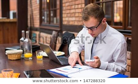 çalışma işadamı restoran Internet turuncu Stok fotoğraf © jakubzak