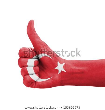 Turquia bandeira polegar para cima gesto excelência Foto stock © vepar5