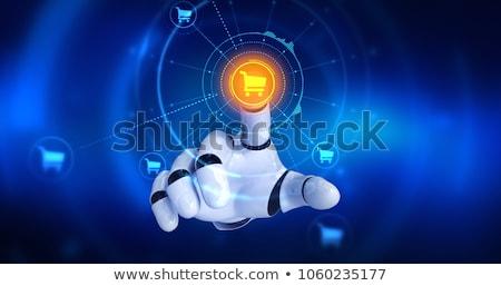 アンドロイド ロボット ショッピングカート レンダリング 青 コンピュータ ストックフォト © Kirill_M