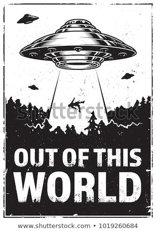 чужеродные · UFO · Cartoon · ретро-стиле · мало · зеленый - Сток-фото © jorgenmac