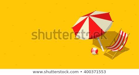 Strand parasols hemel water zomer oceaan Stockfoto © DimaP