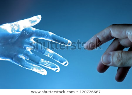 Human hand touch an atrifical glass hand Stock photo © joruba