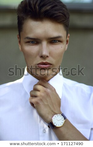 Individuality. Ambitious Successful Handsome Caucasian Man with Watch Stock photo © gromovataya