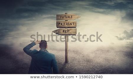 Past signpost Stock photo © burakowski