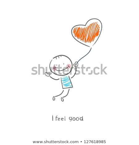 new baby boy and girl with hot air balloon, vector Stock photo © beaubelle