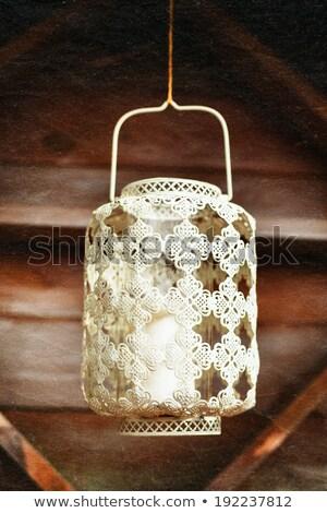 白 ランタン キャンドル 木材 ストックフォト © dariazu