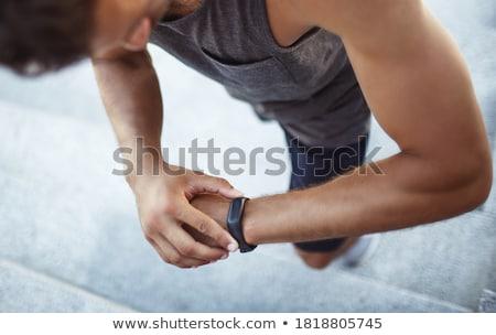 Tijd fitness hand schrijven Blauw fiche Stockfoto © ivelin