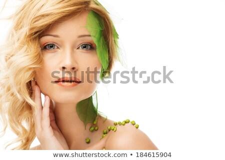 Belo mulher jovem primavera traje tocante cara Foto stock © Nejron