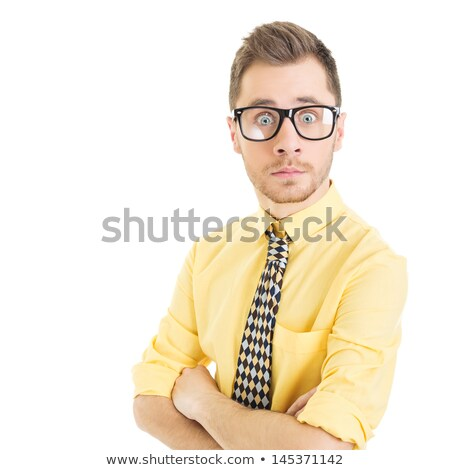 Biznesmen patrząc komunikacji szoku pionowy Zdjęcia stock © bmonteny