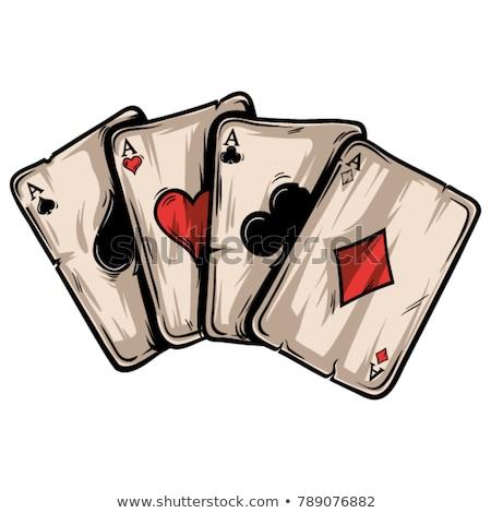 klasszikus · póker · pikk · címke · terv · kaszinó - stock fotó © carodi