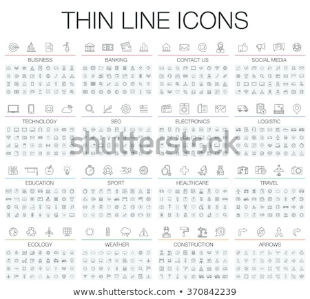 Szimbólumok vonal ikonok ikon szett internet felirat Stock fotó © AnatolyM