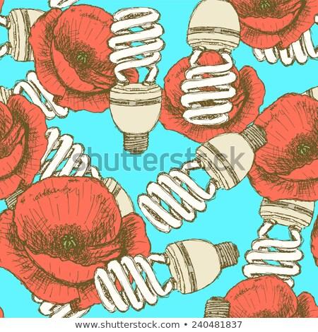 sketch economic light bulb with poppy stock photo © kali
