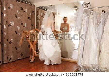 Zwei Freundinnen Brautjungfer Hochzeitskleid Lächeln Stock foto © arturkurjan