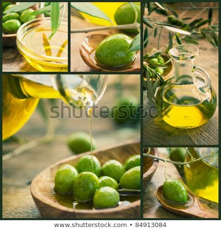 Collage extra virgen aceite de oliva vintage alimentos Foto stock © marimorena