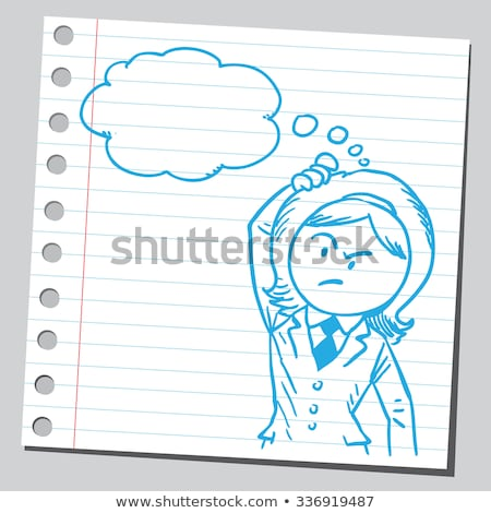 cartoon suspicious woman with thought bubble Stock photo © lineartestpilot