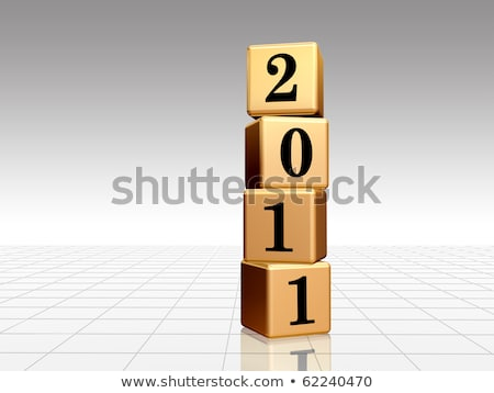 golden cubes with 2011 with reflection Stock photo © marinini