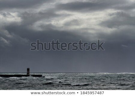 Stockfoto: Najaar · landschap · zwaar · storm · zonsondergang · boom
