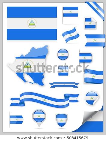 Praça ícone bandeira Nicarágua metal quadro Foto stock © MikhailMishchenko