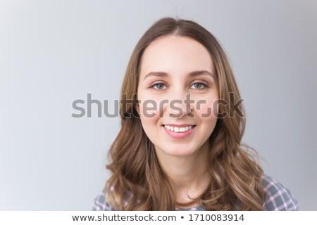 Primo piano ritratto giovani pallido ragazza signora Foto d'archivio © konradbak