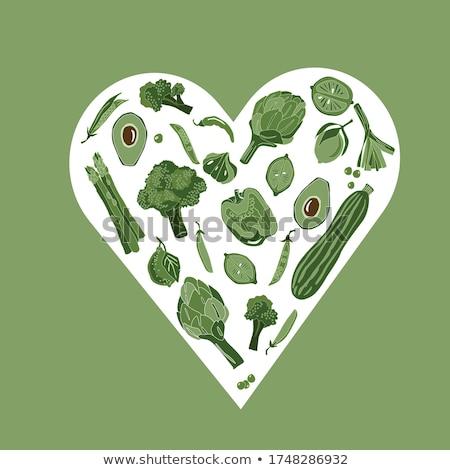 Büyük yeşil kalp akçaağaç yaprakları vektör Stok fotoğraf © -Baks-