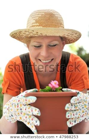 vrouw · bloemen · pot · volwassen · Blauw · horizontaal - stockfoto © ozgur