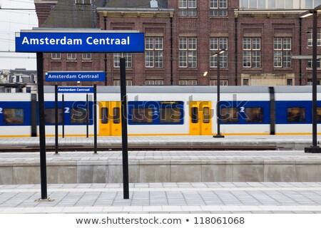 Amszterdam állomás felirat 15 2015 Hollandia Stock fotó © AndreyKr